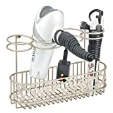 styling tools organizer - mDesign Bathroom Wall Mount Hair Care & Styling Tool Organizer Storage Basket for Hair Dryer, Flat Iron, Curling Wand, Hair Straighteners, Brushes - Satin