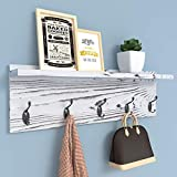 AMBIRD Coat Rack with Shelf Wall Hooks, Coat Hooks for Wall with Shelf, Wooden Rustic 23.6 Inch Length Coat Rack Shelf with 5 Hooks for Entryway, Mudroom, Kitchen, Bathroom(Pinewood Gray)