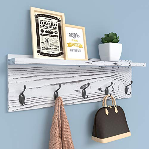 AMBIRD Coat Rack with Shelf Wall Hooks Coat Hooks for Wall with Shelf Wooden Rustic 236 Inch Length Coat Rack Shelf with 5 Hooks for Entryway Mudroom Kitchen BathroomPinewood Gray