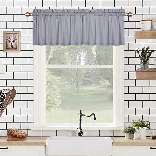 CAROMIO Valance Curtains for Bathroom, Embossed Textured Soft Microfiber Tailored Kitchen Curtain Valances for Windows, Grey, 60x15 Inches