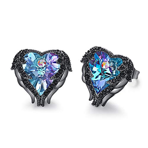 CDE Angel Wing Crystals Earrings Women Silver Plated Studs Ear Ring Crystal Heart Ocean Valentines Day Jewelry Gifts for Mom Purple Blue