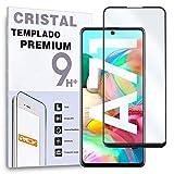 REY Protector de Pantalla Curvo para Samsung Galaxy A71, Negro, Cristal Vidrio Templado Premium, 3D / 4D / 5D