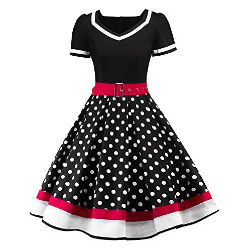 Damen elegant 50er Jahre Petticoat Kleider Gepunkte Rockabilly Kleider Cocktailkleider Mode Frauen V-Ausschnitt Dot Print Schärpen Holiday Vintage A-Line Pendelkleid