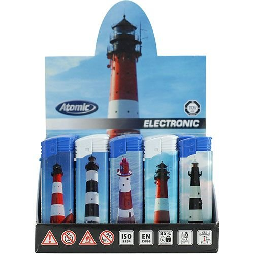 Feuerzeug Einweg Atomic Electronic aus Kunststoff mit Leuchtturmmotiv 50 Stück