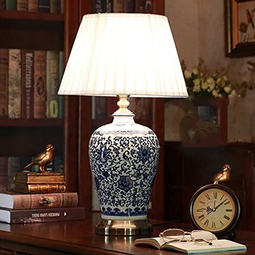 KTDT Lámpara de Mesa de cerámica Vintage, lámpara de Noche para Dormitorio, Pantalla Plisada, lámpara de Porcelana Pintada en Azul y Blanco, Cuerpo, lámpara de Escritorio China, Sala de Estar/e