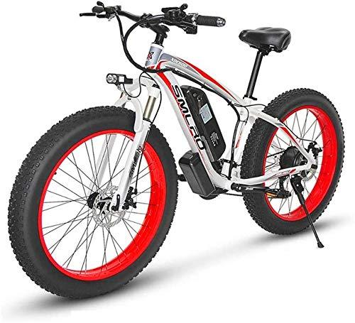 RDJM Bici electrica, 21 1000W Velocidad Bicicleta eléctrica 26 4.0 La Carga de Grasa de Bicicletas 5 Pas hidráulico del Freno de Disco extraíble 17.5Ah 48V batería de Litio