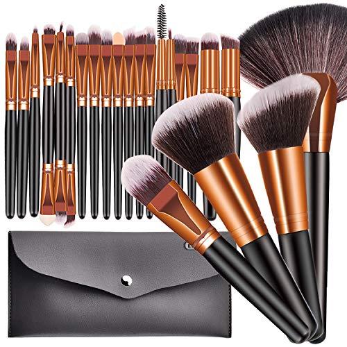 23Pcs Pro Makeup Brushes, Shiny Makeup Brush Set, Foundation Powder Liquid Brushes, Cream Concealers Eyeshadows Blush, Eyeliner Makeup Blending Brushes Kit, With Travel Cosmetic Bag