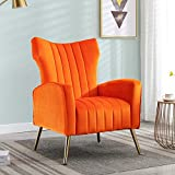 Altrobene Accent Chairs Velvet Armchairs Soft Padded Curved Tufted Wingback Chairs with Golden Finished Metal Legs for Living Room, Bedroom Modern Chairs, Orange