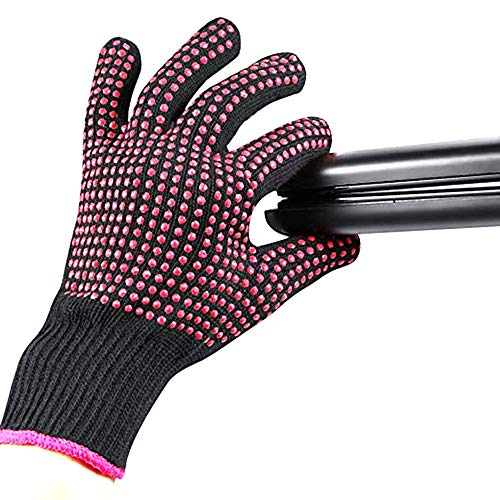Heat Resistant Glove for Hair Styling, Curling Iron, Flat Iron and Curling Wand, Pink Edge, Silicone Bump, 1 Piece
