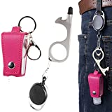 Hand Sanitizer Leather Bottle Portable Set Flip Cap Personal Care with No Touch Door Opener Key Ring Pink