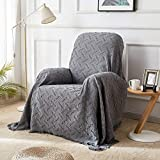 Rose Home Fashion RHF Recliner Chair Cover, Recliner Cover, Couch Cover for Recliner Furniture Protector with Tassels (Darkgray, 95 x 102 inches)