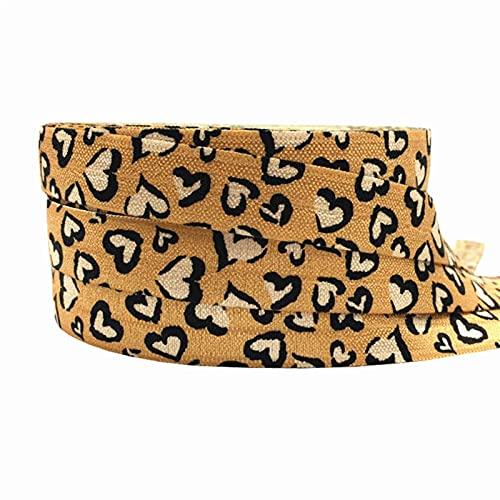 16mm leopardo flores impresión animal pliegue sobre banda elástica cinta de costura artesanía hecha a mano accesorios BRICOLAJE Bebé Diadema Pelo Lazos (Color : P982, Width : 5yard elasitc)