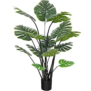 """Silk Flower Arrangements CROSOFMI Artificial Monstera Deliciosa Plant 57"""" Fake Tropical Palm Tree, Perfect Faux Swiss Cheese Plants in Pot for Indoor Outdoor House Home Office Garden Modern Decoration Housewarming Gift"""