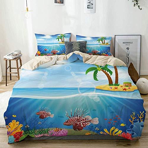Juego de funda nórdica beige, gráficos de peces león y arrecifes de coral en el mar, belleza marina, palmeras en la isla, juego de cama decorativo de 3 piezas con 2 fundas de almohada, fácil cuidado,