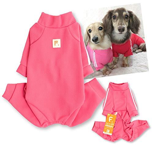 犬猫の服 full of vigor_ドッグプレイ(R)体操服ジャージつなぎ_6/ピンク_NL_小型犬・ダックス用