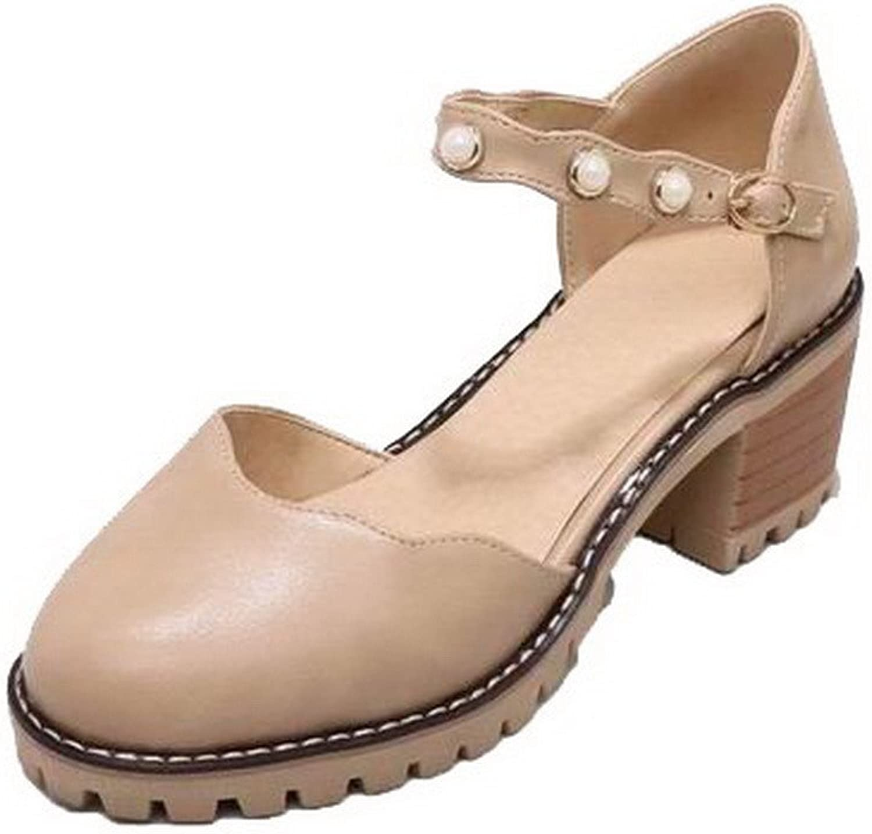 WeenFashion Women's Solid Pu Kitten-Heels Closed-Toe Buckle Sandals, CA18LB05191