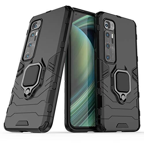 HTPOW-M para La Funda Xiaomi 10 Ultra, Funda Híbrida A Prueba De Golpes De Doble Capa, Funda Protectora con Soporte Giratorio con Anillo De Dedo, Negro 0122T(Color:Negro)