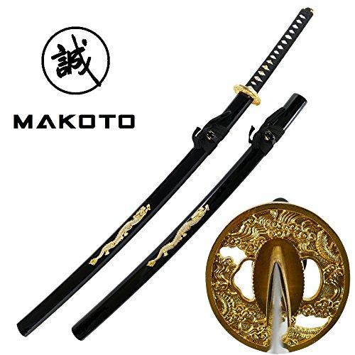 MAKOTO Hand Forged Sharp Samurai Sword - Crystal Golden Dragon on Saya
