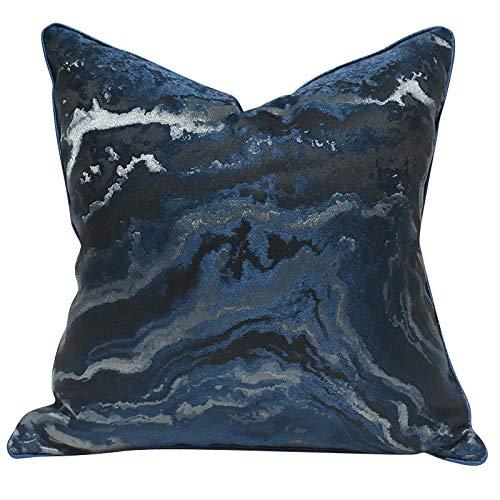 QXbecky Federa Federa quadrata ad alta precisione in stile lusso con ondulazione blu astratta (senza anima) moderna decorazione del divano minimalista 50 cm