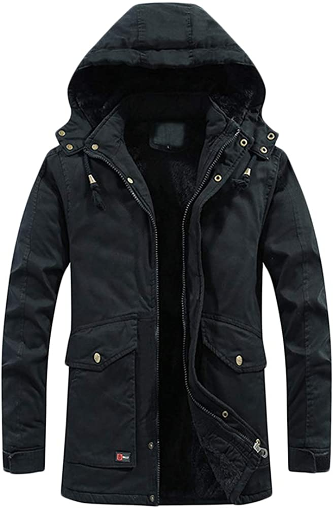 YFFUSHI Mens Thick Winter Coat Fleece Lined Warm Military Jacket with Detachable Hood