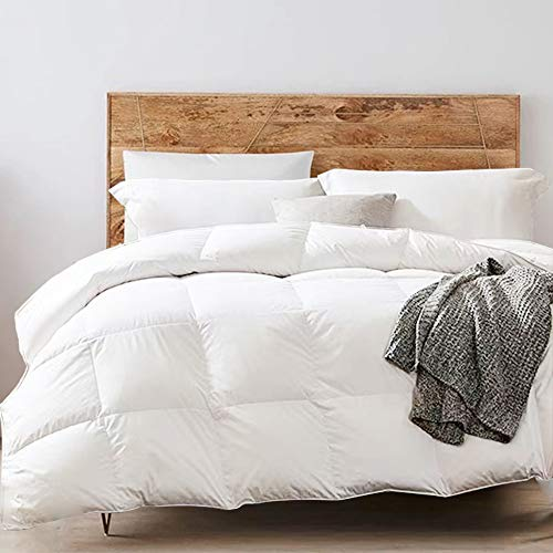 Yalamila Goose Duck Feather Down Comforter - 100% Cotton Cover, All Season Cotton Fluffy Down Duvet Insert with White Duck Down Feather Filling, Bedding Lightweight Comforter 68x90 Twin Size