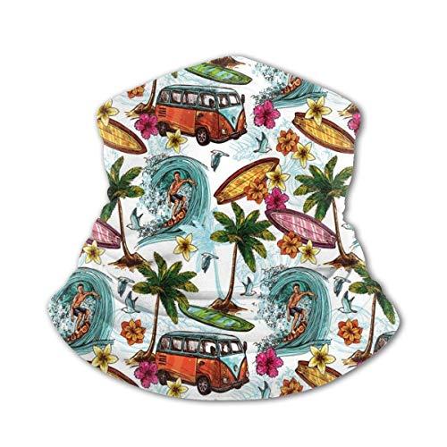 Nackenschutz Schal Winddichte Maske-Hawaiian Surfer Auf Welliger Tiefsee Retro Style...