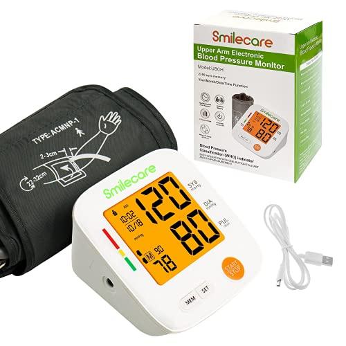 Smilecare BP Monitor: Máquina Automática De Presión Arterial Precisa En La Parte Superior Del Brazo, Brazaletes Digitales Para La Presión Arterial Para Uso Doméstico Con Pantalla LCD Grande