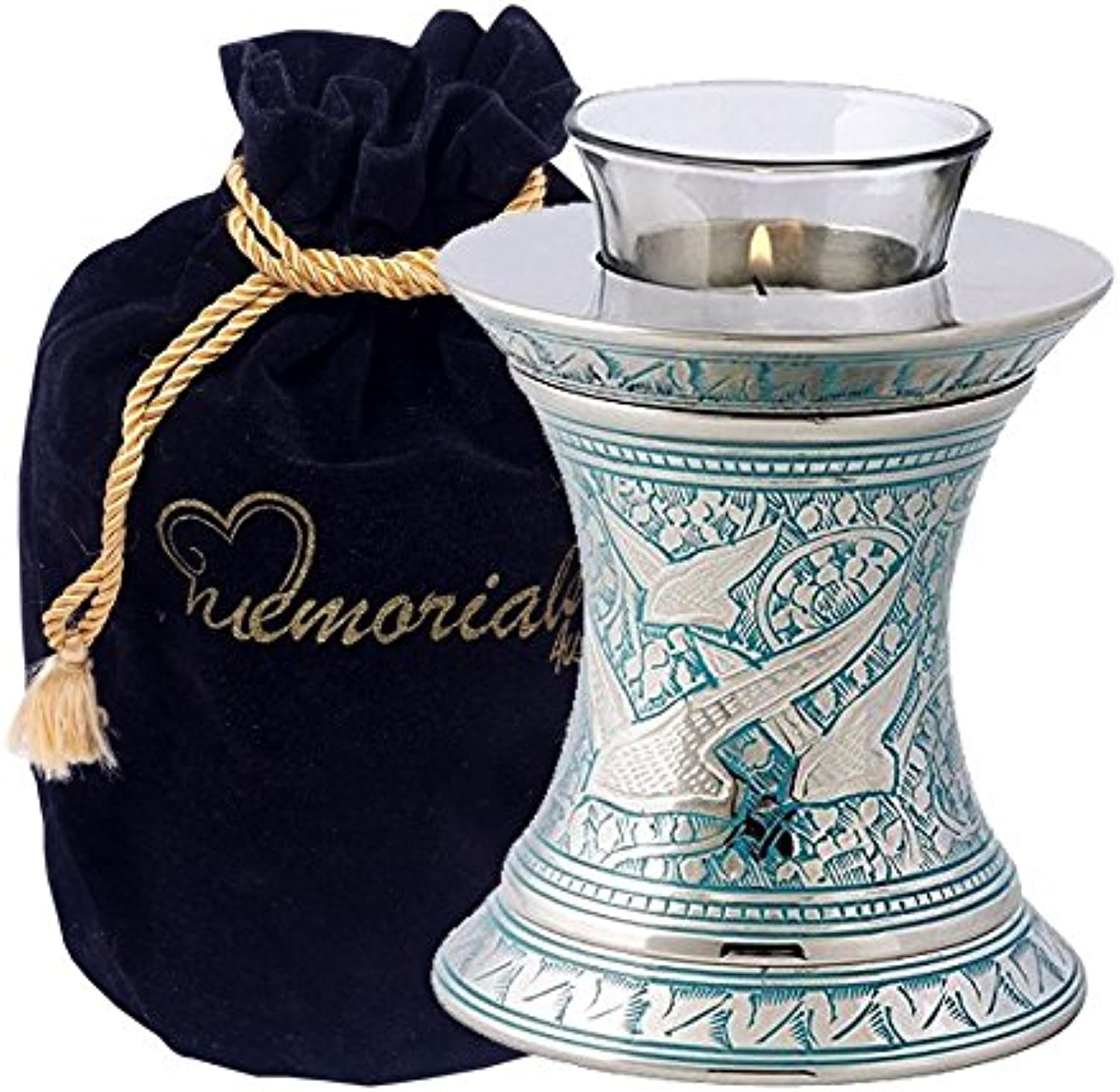 Wings of Freedom Brass Cremation Urn for Human Ashes - Solid Brass wings to eternity - Handcrafted Affordable Urn for Ashes - wings to eternity tealight urn with Free Velvet Bag or Box (Tealight)