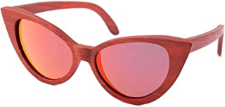 LUKEEXIN Sexy Cat Eyes Colored Lens Lady's Wood Sunglasses UV Protection Handmade for Men Women (Color : Red)