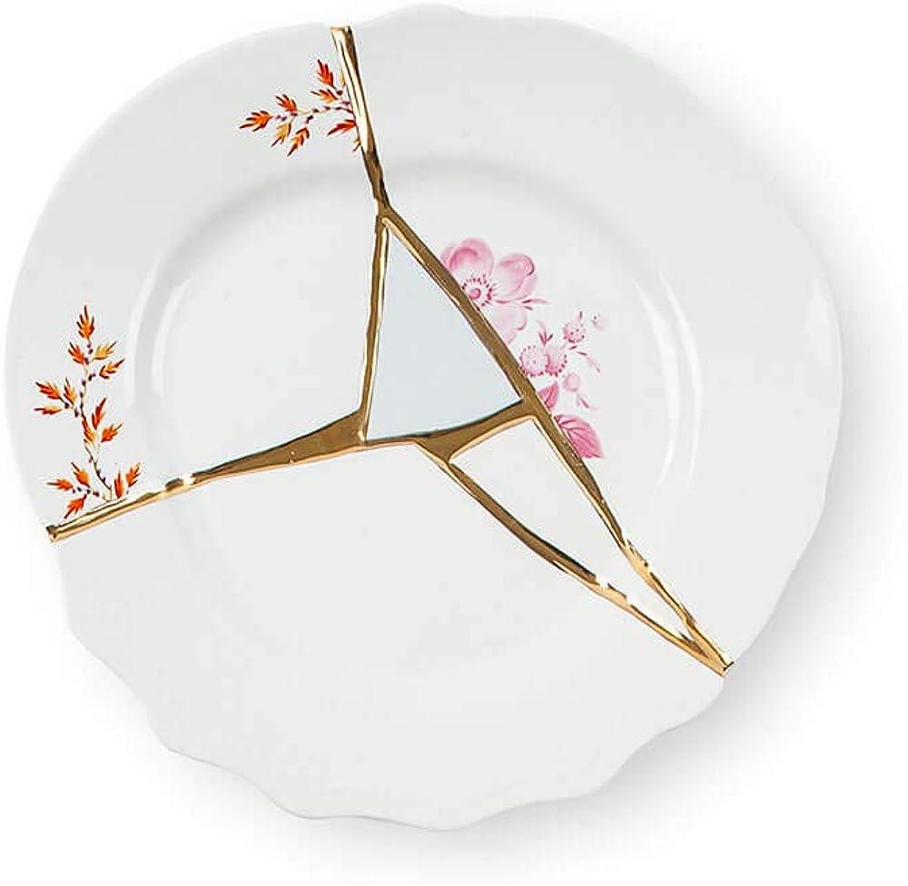 Seletti kintsugi, piatto frutta in porcellana e oro 24 carati, mod. 1 124142