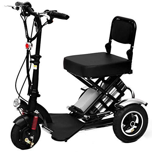 CYGGL Véhicule électrique à Trois Roues de adapté aux Personnes âgées, Voiture de Batterie Pliable pour Enfants, Bicyclette électrique, Vitesse de Conduite 30 km/h - Charge 110KG (E)
