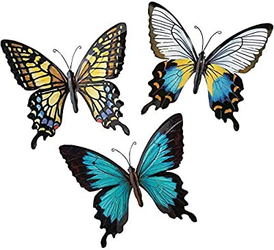 CT DISCOUNT STORE Nature Inspired 3 D Metal Wall Scupture Beautiful Butterflies Trio Home Decor Accent (Beautiful Multicolor Pattern Butterfly)