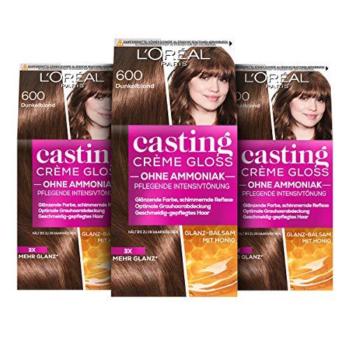 L'Oréal Paris Coloration ohne Ammoniak und ohne Silikone, Pflegende Intensivtönung mit Glanz-Reflex-Balsam, Casting Crème Gloss Haarfarbe, Nr. 600 Dunkelblond, 3 Stück