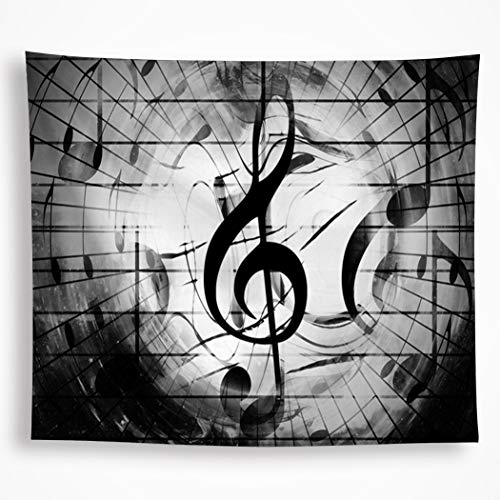 VAKADO Music Tapestry Wall Hanging Black and White Music Note Psychedelic Tapestry Music Score Bohemian Mandala Indian Home Décor Art for Living Room Dorm 51'X59'