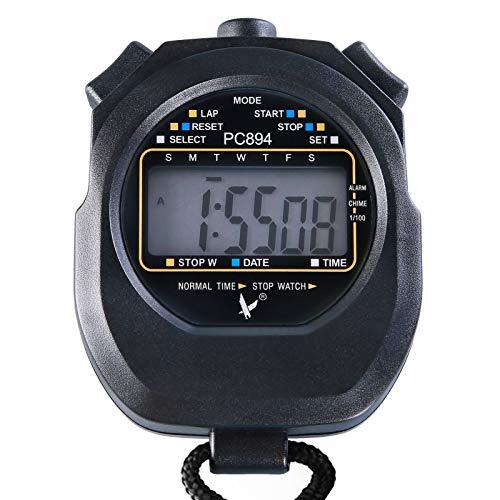 Lixada Digitale Stoppuhr Handheld Timer große LCD-Display Stoßfest für Schwimmen Laufen Fußball