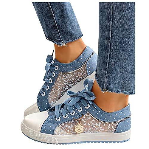 Dasongff Damen Laufschuhe Bestickte Sneaker Spitze Atmungsaktive Blumenmuster Mesh Hohle Freizeitschuhe Schnürschuhe Outdoorschuhe Leicht Sportlich Schuhe Wanderhalbschuhe