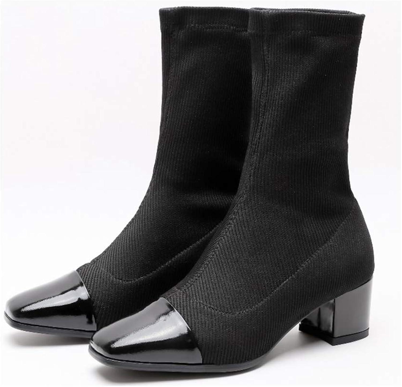 Fashion Square Toe Sock Boot Stretch Knitting Chunky Heels Ladies Elegant Prom Mid Calf Winter shoes