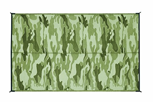 Camco Large Reversible Outdoor Patio Mat - Mold and Mildew Resistant, Easy to Clean, Perfect for Picnics, Cookouts, Camping, and The Beach (9' x 12', Camouflage Design) (42825)