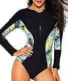 Costume Intero Donna Manica Lunga Surf Bikini con Zip e Coppe Monokini Floreale Costumi da Bagno Push Up Body da Ginnastica Artistica Tuta Un Pezzo Abbigliamento Sportivo Fitness Swimsuit Beachwear
