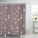 Stoff Duschvorhang Beige Japanisch SchöN Mit Sakura Zweigen Braune BlumenblüTe Zweig Kirsche Asiatische Badezimmer VorhäNge-B150xH180cm