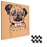 Navaris tablero de corcho con diseño de perro - Pizarra de corcho de 40x40CM - Tablón para colgar anuncios con 6 chinchetas y set de montaje