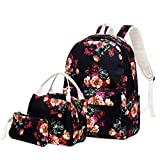 Sunborls Pastoral Nylon Backpack Girls Broken Flower Lightweight Cute Elementary School Bag Women College Backpack Water Resistant Bookbag with Lunch bag+Purse/Pencil bag (3 in 1 black-flower)