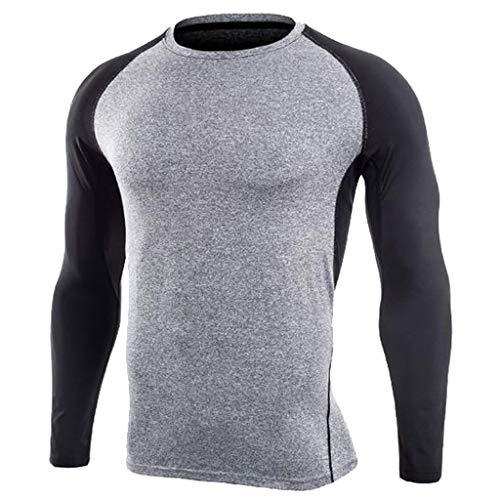 Celucke Funktionsshirt Langarm Kompressionsshirt Herren Funktionsunterwäsche Sportunterwäsche, Kompression Compression Shirt Laufshirt Unterhemd