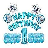 WUBINBH Globo 38 unids/Set Blue First First Feliz cumpleaños Globos Set Baby de un año de Edad Decoración de Fiesta Chica My 1er Latex Ballon Decor decoración (Color : Blue)