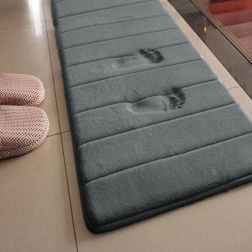 ainstsk lang Memory Foam Badvorleger, 49,8 x 160 cm Mikrofaser rutschfeste saugfähig schnell trocknend Badezimmer Teppich Teppich, Wasser saugfähig, Silberfarben und Grau, 50cm x 160cm