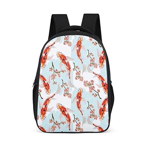 Japan Koi Fish Women's&Men's Backpacks Boys Girls School Book Bags for College Work Bright Gray OneSize