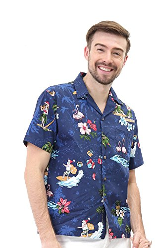 Hawaii Hangover Men's Hawaiian Shirt Aloha Shirt L Christmas Shirt Santa Navy