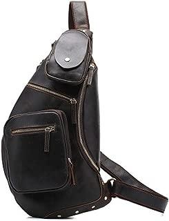 Mens Bag Fashian Retro Crazy Horse Leather Handmade Large Capacity Men's Crossbody Chest Bag Leather Shoulder Bag High capacity