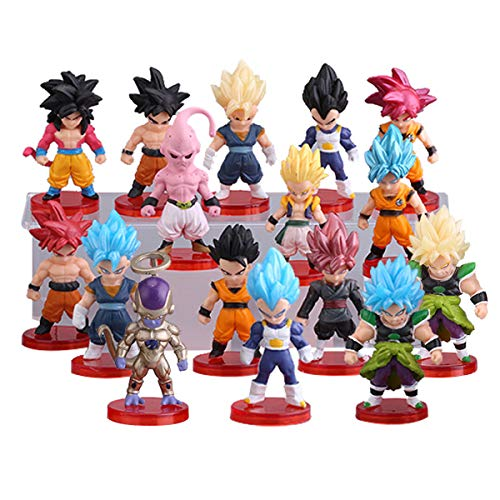 16 Pack Dragon Ball Z Cake Toppers,3' Goku Figures Cake Toppers Set