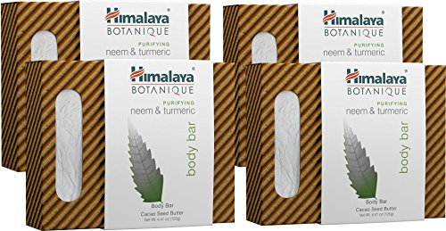 Himalaya Botanique Purifying Neem & Turmeric Body Bar for a Total Body Deep Cleaning, for Oily and Acne Prone Skin, 4.41 oz, 4 Pack